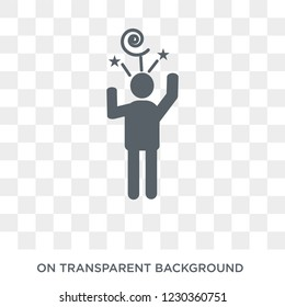 stressed human icon. Trendy flat vector stressed human icon on transparent background from Feelings collection.