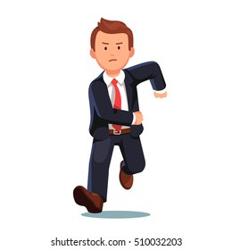 Stressed late business man with an angry face running fast toward the viewer. Flat style vector illustration isolated on white background.