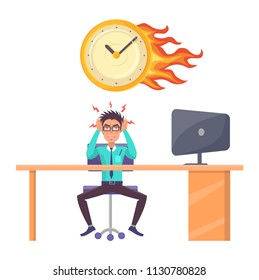 Stressed male office worker and overdue deadline. Man employee suit at desk with computer, wall clocks in flame isolated cartoon vector illustration.