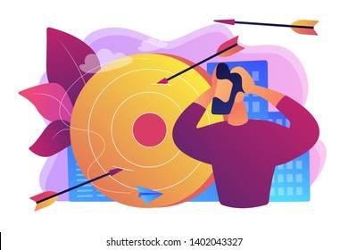 Stressed man suffering from migraine. How to deal with frustration, frustration and anger control, emotionally intelligent habits concept. Bright vibrant violet vector isolated illustration