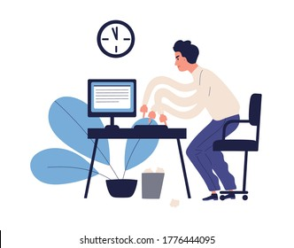 Stressed multitasking man trying to get in time making many work use computer vector flat illustration. Male office worker hurrying working isolated on white. Missing deadline and bad time management
