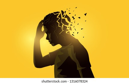A stressed out adult male man holding his head. Mental health awareness concept. Vector illustration.