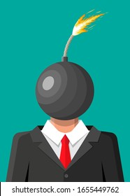 Stressed out businessman with head of bomb. Overworked exhausted man with burning brain. Person burnt by work. Emotional stress. Man in suit with burning head. Vector illustration in flat style