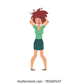 Stressed out woman tearing her hair out in shock and frustration, cartoon vector illustration isolated on white background. Front view portrait of stressed out woman, hands on her hair, feeling a mess