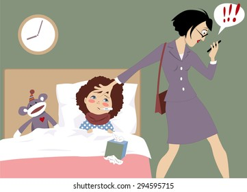 Stressed out working mother of a sick child receiving an urgent message on her phone, vector illustration, EPS 8