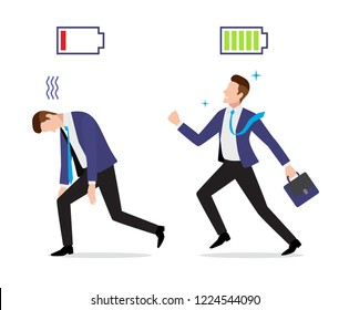 Stressed overworked and vigorous businessman set with charged and discharged battery icon and briefcase go to work, vector illustration in flat style