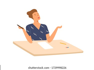 Stressed student boy writing exam test don't know answers vector flat illustration. Male pupil sitting on desk with empty paper isolated on white. Person failed examination at college or school