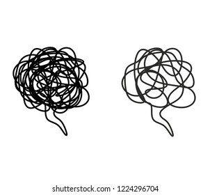 Stressed thoughts bubble. Black outline isolated against white background. Symbol for negative emotions - irritation, anger and also for depression, anxiety, mental disorders.