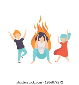 Stressed tired mother and her kids, woman on fire, emotional burnout concept, stress, headache, depression, psychological problems vector Illustration