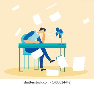 Stressed Tired Office Worker Overwhelmed by Paperwork and Tasks. Exhausted Executive Manager Sitting at Desk front of Fan. Paper Rain. Overload and Overwork. Vector Flat Cartoon Illustration