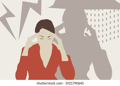 Stressed woman, burnout, disorder. Vector illustration. EPS 10.