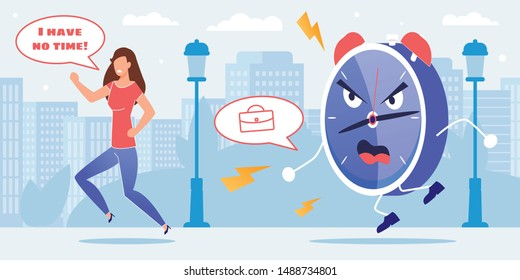 Stressed Woman Character Running out of Huge Alarm Clock Metaphor Cartoon. Late for Work. Failure Deadline. Time Management and Planning Daily Schedule Need. Vector Flat Cityscape Illustration