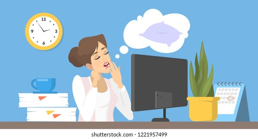 Stressed woman suffering from the insomnia. Tired sleepy character at work in office. Flat vector illustration