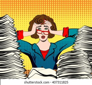 stressed woman. stressed worker. businesswoman in panic. a young girl sits at his Desk and holds her hands on her head. pop art comics woman vector illustration. Paper Work. Stressed person concept.