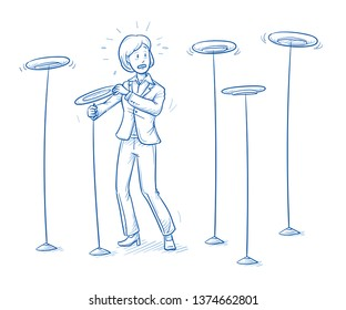 Stressed young man in business suit juggling five plates on sticks. Concept for too much work or tasks to do simultaneously. Hand drawn line art cartoon vector illustration.
