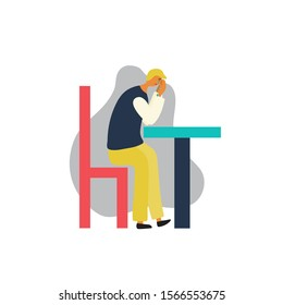 Stressed young man. Signs of depression. A man sits at a table. He is crying and sading. Vector illustration on a white background.