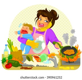 stressed young woman doing many tasks while holding a crying baby
