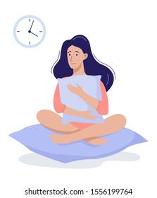 Stressed young woman suffering from the insomnia. Girl with no sleep at night. Tired sleepy character. Flat illustration