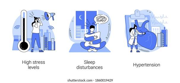 Conjunto de ilustraciones vectoriales de concepto abstracto de vida estresante. Altos niveles de estrés, alteraciones del sueño, hipertensión, sobrecarga digital, salud mental, hipertensión arterial alta, insomnio metáfora abstracta.