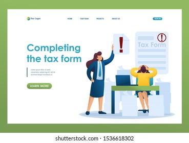 Stressful situation of the office, Completing the tax form, deadline for filing tax returns. Flat 2D character. Landing page concepts and web design
