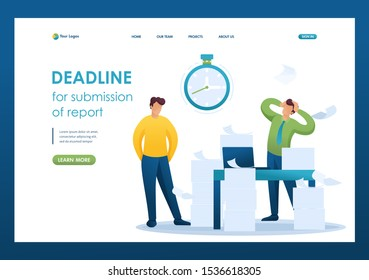 Stressful situation of the office, Deadline for submission of report, company's employees in shock. Flat 2D character. Landing page concepts and web design