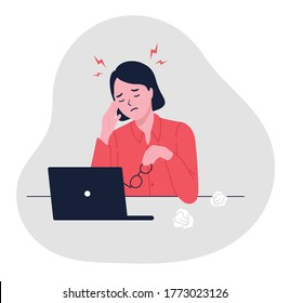 Stressful work, Stress at workplace. Busy business woman, Project failure, Workaholic. Unhappy female clerk sitting at desk. Sad, tired or exhausted woman at office. flat vector illustration