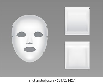 Stretch sheet face mask in blank white sealed plastic pouch 3d realistic vector isolated on grey background. Skincare cosmetics product packaging mockup. Hydrating and moisturizing serum with napkin