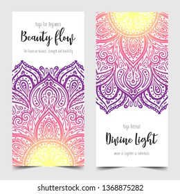 Stretch and Strength. Yoga card design. Colorful template for spiritual retreat or yoga studio. Ornamental business cards, oriental pattern. Vector illustration