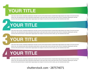 Stretched Banners Vector Background Design. Abstract vector background template for page layout with numbered bullet points and stretched banners with copy space isolated on white background.