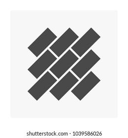 Stretcher bond pattern vector icon. For paving floor material i.e. parquet wood, tile. And stone, cobblestone, brick, concrete block for landscape i.e. garden, road, driveway, patio, walkway, pavement