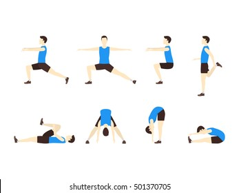 Stretching Exercise Icon Set with Man Flat Design Style. Sports and Fitness for Health. Vector illustration of man abdominal activity, stretch and move, warm, leisure. Wellness concept