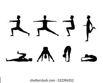 Stretching Exercise Set with Silhouette Man. Sports and Fitness for Health. Vector illustration
