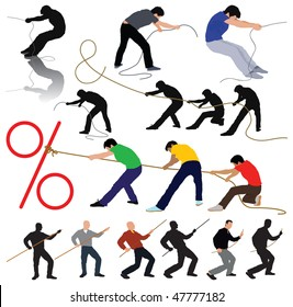 Stretching idea - silhouettes pulling the rope. Group stretching percentage and & symbol. Vector color illustration.