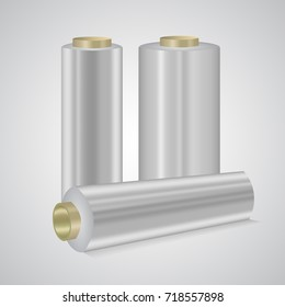 Stretching plastic wrap, cling film rolls vector illustration. Transparent glowing covers isolated on white. Made to keep food fresh in household, supermarkets. The reason of environmental concerns.