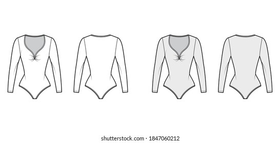 Stretch-jersey bodysuit technical fashion illustration with plunging gathered V-neck, long sleeves, . Flat one-piece apparel template front, back white grey color. Women men unisex swimsuit CAD mockup