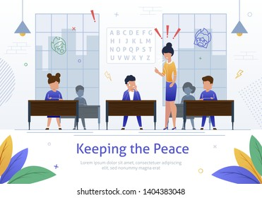 Strict, Angry Female Teacher Scolding on Pupil Boy in School Classroom Cartoon Vector Illustration. Naughty Children Bad Behavior, Nervous and Annoyed Teacher, Punishment in School Banner.