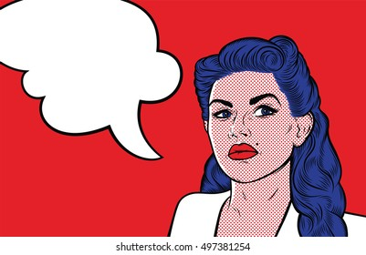 Strict beautiful retro woman with speech bubble for your text. Retro comic girl. People talking. Vector Illustrations.