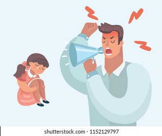 Strict father lecturing their daughter for bad behavior at home. Father screaming in megaphone. Parenting. Angry tyrant man and sad girl. Vector cartoon illustration in modern concept.