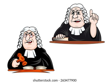 Strict judge cartoon characters in wig, glasses and mantle holding gavel and pointing upward for law and justice concept design