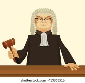 Strict judge. Vector flat cartoon illustration