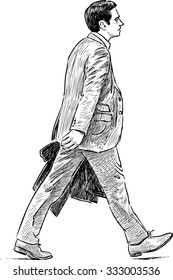 striding businessman