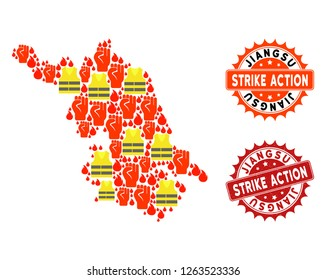 Strike action collage of revolting Map of Jiangsu Province, grunge and clean seals. Map of Jiangsu Province collage composed for Gilet Jaunes protest illustrations.