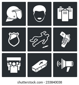Strike after killing Feruson Vector Isolated Flat Icons Set