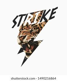 strike slogan with leopard in thunder illustration