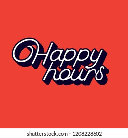 Striking happy hour sign with red background for your cafe bar or restaurant.