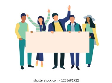 Striking people holding empty  banners. Vector illustration of group of male and female people standing in line, lying or going with posters and flags in hands protest again something.