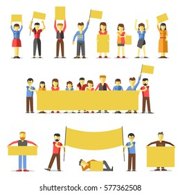 Striking people holding empty yellow banners. Vector illustration of group of male and female people standing in line, lying or going with black posters and flags in hands protest again something.