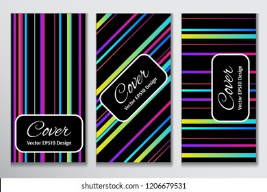 Striking vector cover band front page. Colorful strip on black background layout for corporate purpose. Contrast cover for header page of ad.