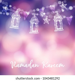 String of arabic lanterns, flags, lights and stars. Modern decorative festive  blurred vector illustration background for muslim community holy month Ramadan Kareem.
