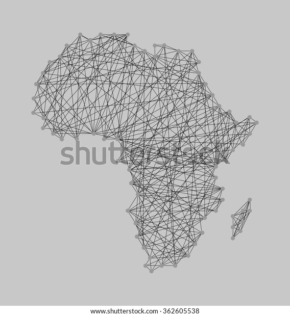 String Art Nail Yarn Design Africa Stock Vector Royalty Free 362605538